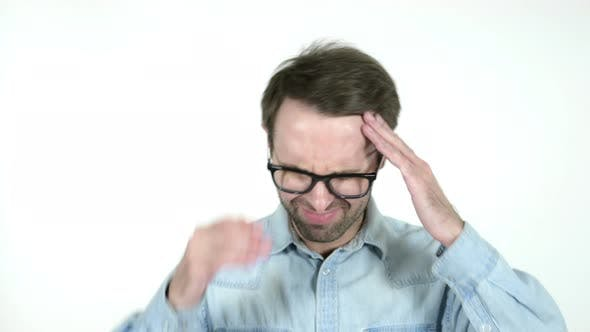 Cover Image for Man with Headache, White Background