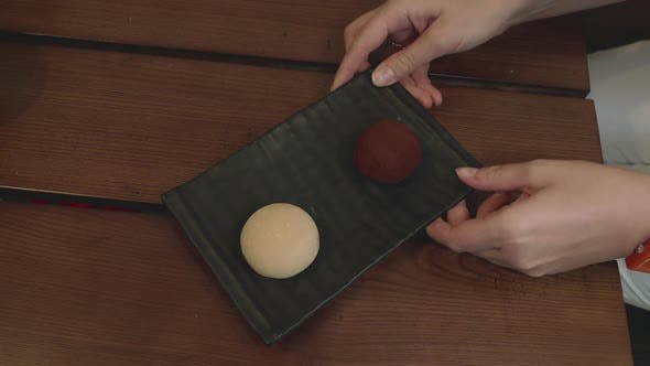 Thumbnail for Mochi Dessert Served with Origami Figure