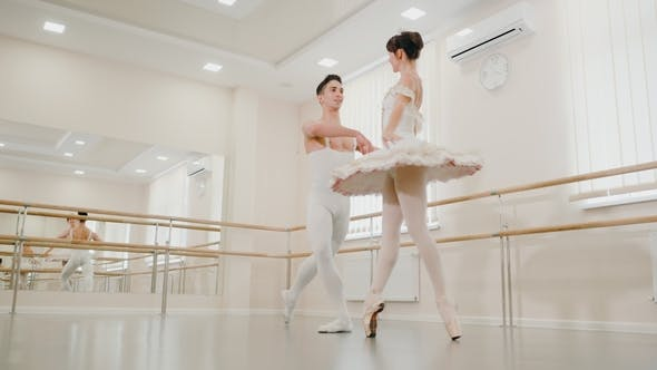 Thumbnail for Repetition in the Ballet Hall or Studio with Minimalism Interior. Young Professional Sensual Couple