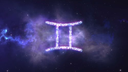 Zodiac Sign Gemini Forming From the Stars with Space Background