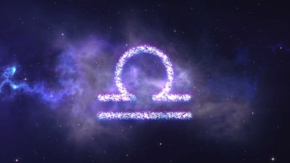 Thumbnail for Zodiac Sign Libra Forming From the Stars with Space Background