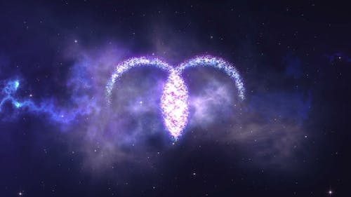 Zodiac Sign Aries Forming From the Stars with Space Background
