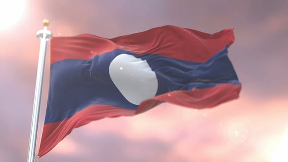 Flag of Laos at Sunset