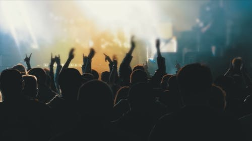 Concert Crowd at Music Festival. Crowd People Dancing Rock Concert