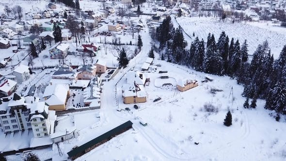 Thumbnail for Winter Village in a Coniferous Forest. Aerial View