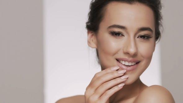 Thumbnail for Attractive Brunette Model at Studio Background