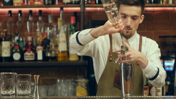 Thumbnail for Professional Barman Prepare Cocktail Drink Using Shaker