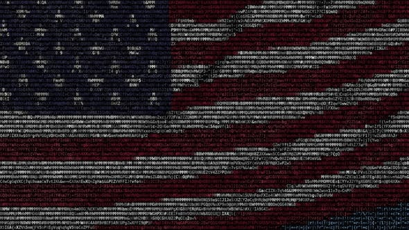 Thumbnail for Waving Flag of the United States Made of Text Symbols