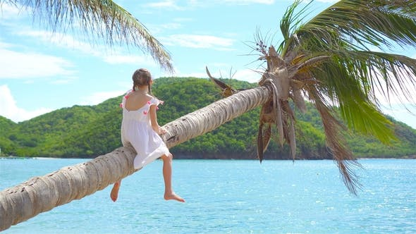 Thumbnail for Adorable Little Girl at Tropical Beach on Palm Tree During Summer Vacation