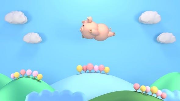 Cartoon Flying Pig