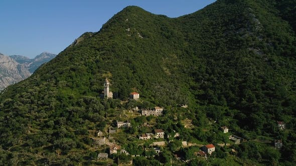 Thumbnail for Aerial View of Old Abandoned Village in Mountains. Village Gornji Stoliv, Kotor Bay, Montenegro