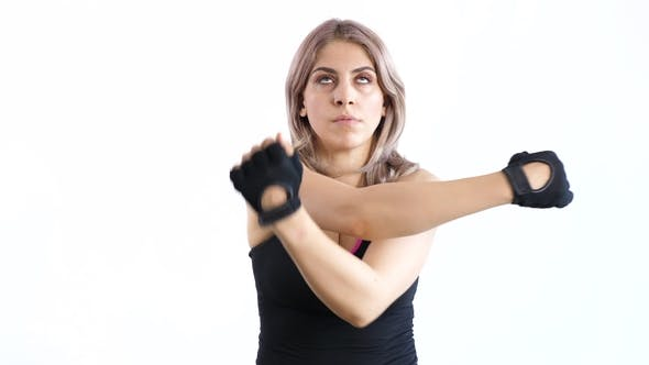 Thumbnail for Fit Woman Wearing Sport Gloves Stretching