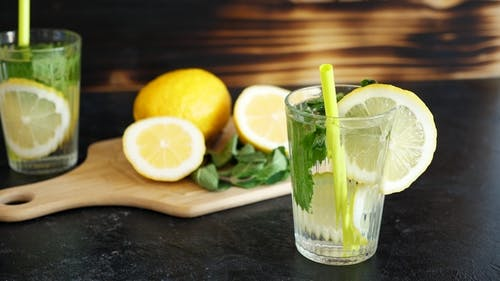 Glass with Homemade Lemonade and Mint