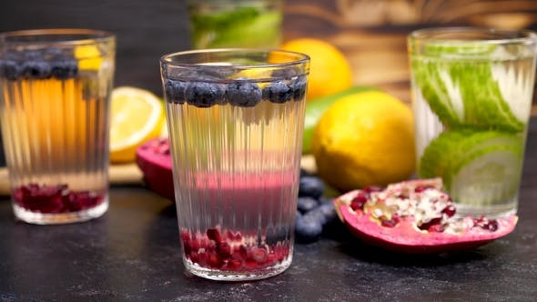 Thumbnail for Water with Infused Blueberries, Pomegranate and Lemon