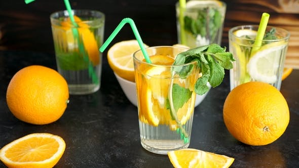 Vitamin Water with Slices of Oranges and Mint
