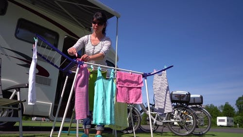 Washing on a Dryer at a Campsite.