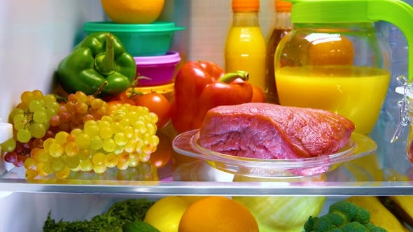 Thumbnail for Fresh Raw Meat on a Shelf Open Refrigerator