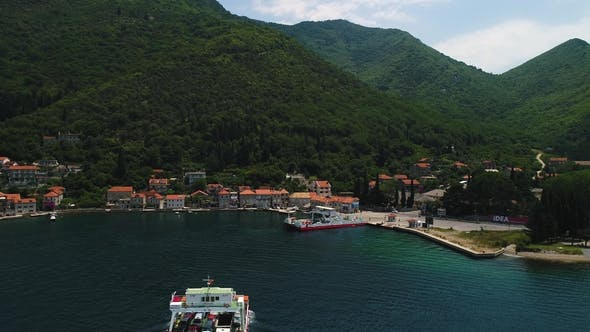 Thumbnail for Aerial Beautiful View From Above To Kotor Bay and Regular Passenger Ferry From Lepetane To Kamenari