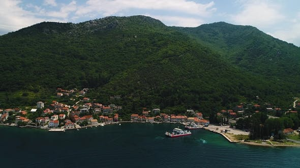 Thumbnail for View From Above To Kotor Bay and Regular Passenger Ferry From Lepetane To Kamenari