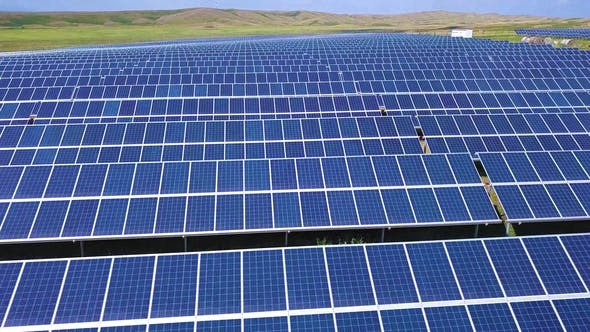 Thumbnail for Aerial Desert View Large Industrial Solar Energy Farm Producing Concentrated Solar Power, USA