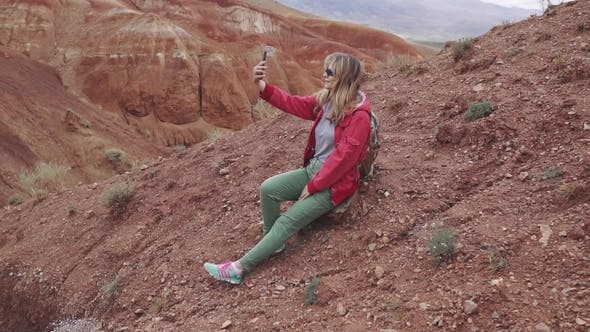 Thumbnail for Girl Tourist Doing Selfie on Camera Smartphone