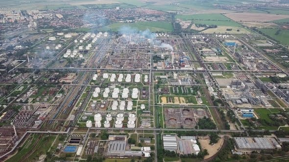 Aerial Panorama of Oil Refinery