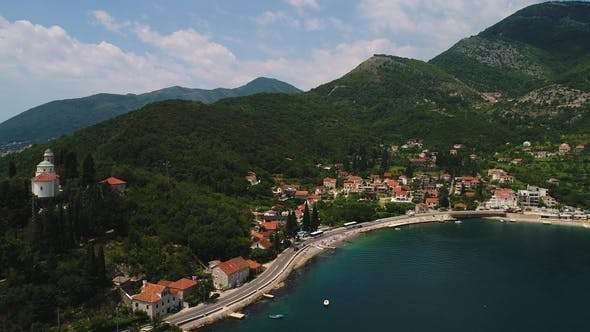 Thumbnail for Aerial Panoramic Beautiful View From Above To Kotor Bay and Regular Passenger Ferry From Lepetane To