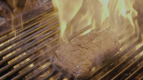 Steak Slipping on the Grill with Fire