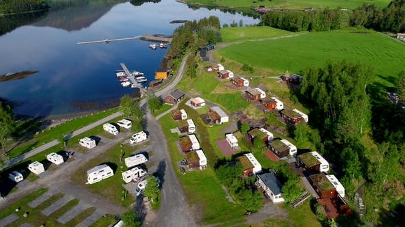 Thumbnail for Beautiful Nature Norway Aerial View of the Campsite To Relax