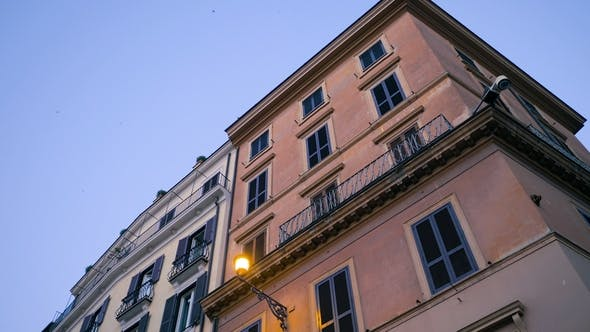 Thumbnail for Apartment Building Streets in Rome, Italy. Windows with Shutters. Facades of Old Houses in the