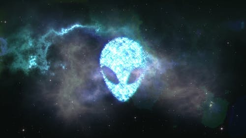Alien Face Forming From the Stars with Space Background