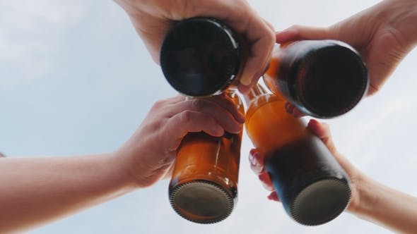 Thumbnail for A Group of Friends Clink Glasses with Beer Bottles Against the Sky