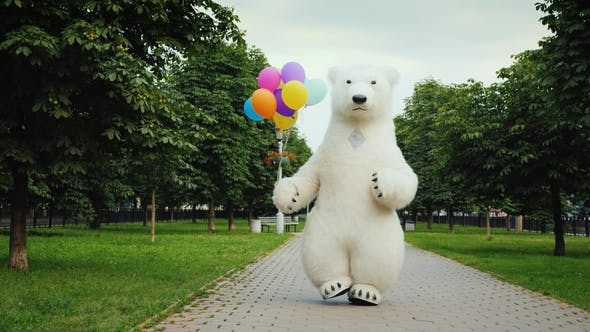Thumbnail for A Puppet of a Polar Bear Gaily Goes on Holiday with Huge Colorful Balloons in the Paw