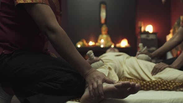 Thumbnail for Two Thai Massages Make a Massage for a Guy with Herbal Pouches