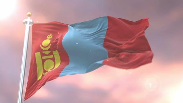 Flag of Mongolia at Sunset