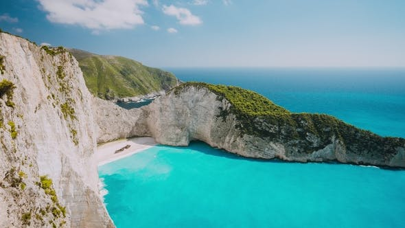 Thumbnail for The World Famous Navagio Beach Zakynthos Greece Turquoise Sea Water Rolled To White Sand