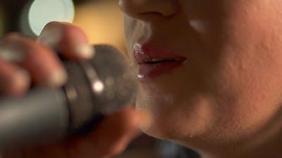 Woman Sing in Mircophone