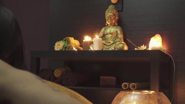 Thumbnail for Candles, Buddha and Beautiful Girl in Massage Salon