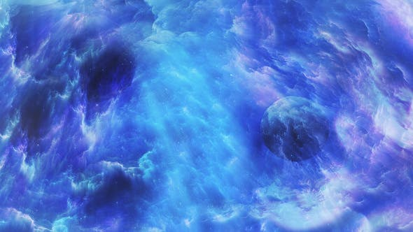 Thumbnail for Flying Through Abstract Colorful Space Nebula with Planets and Star Shine