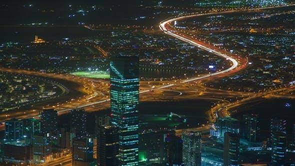 Dubai Traffic Highway Intersection Night Skyline Panorama
