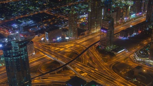 Dubai Scenic Aerial View of Big Highway Intersection Night