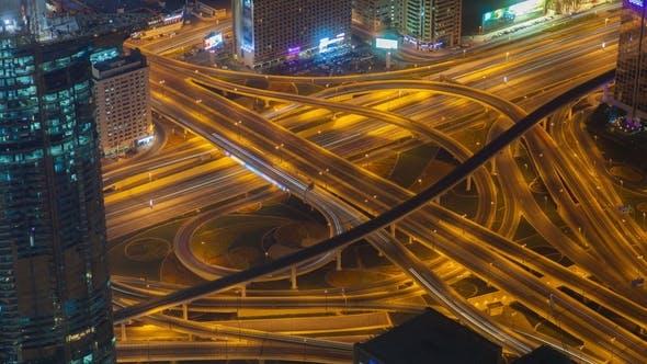 Dubai Highway Intersection Traffic Transport Node Night