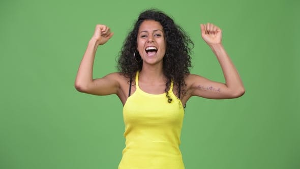 Thumbnail for Young Beautiful Hispanic Woman Looking Excited