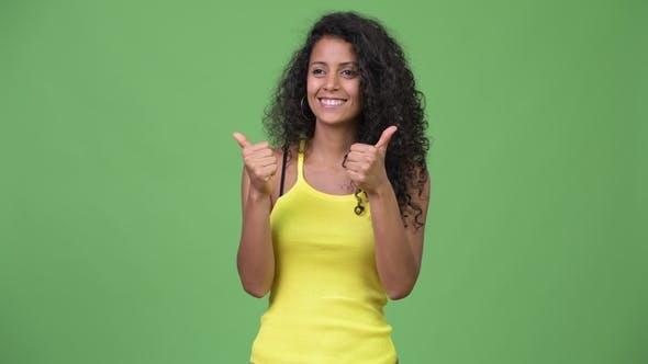 Thumbnail for Young Beautiful Hispanic Woman Giving Thumbs Up