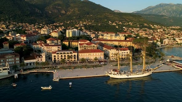 Cover Image for Aerial View of the Evening in Porto Montenegro in Tivat