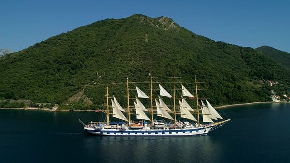 Thumbnail for Aerial View of a Large Yacht That Swims in the Kotor Bay
