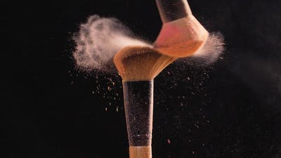 Make-up and Beauty Concept. Make-up Brush with Orange Powder