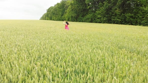 Thumbnail for Beautiful Girl in Red Retro Dress Running in Green Field Freedom Concept