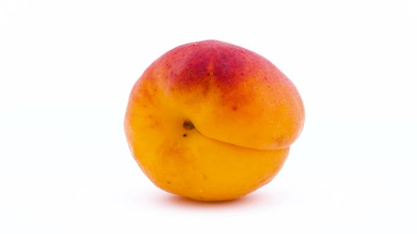 Thumbnail for One Whole Apricot Fruit. Rotating on the Turntable. Isolated on the White Background. . .