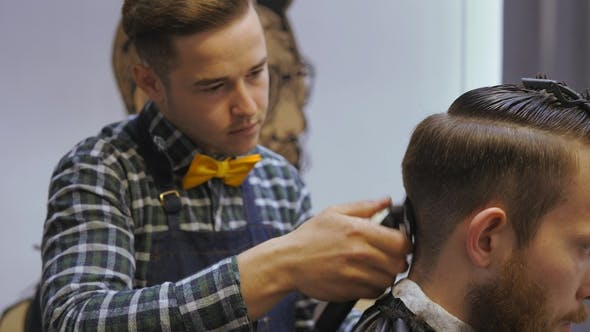 Thumbnail for Hairdresser for Men. Barbershop. Hair Care. Hairdresser with a Haircut Works for a Hairstyle for a